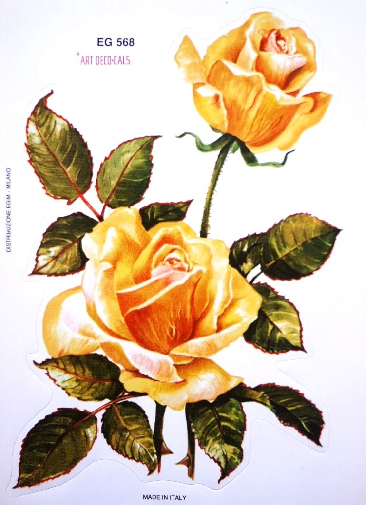 イタリア 黄色い薔薇のシール ヴィンテージシール 紙モノ ART DECO-CALZ EG 568