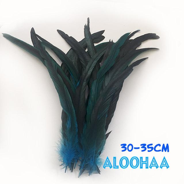 ロングフェザー 【ターコイズ】30-35cm タヒチアン 衣装 材料 ルースターテール 染め 羽根