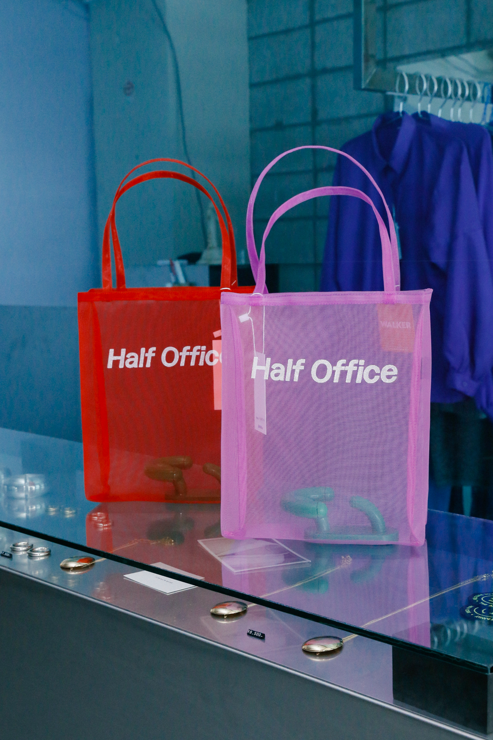 Half Office Mesh Tote Bag / Purple