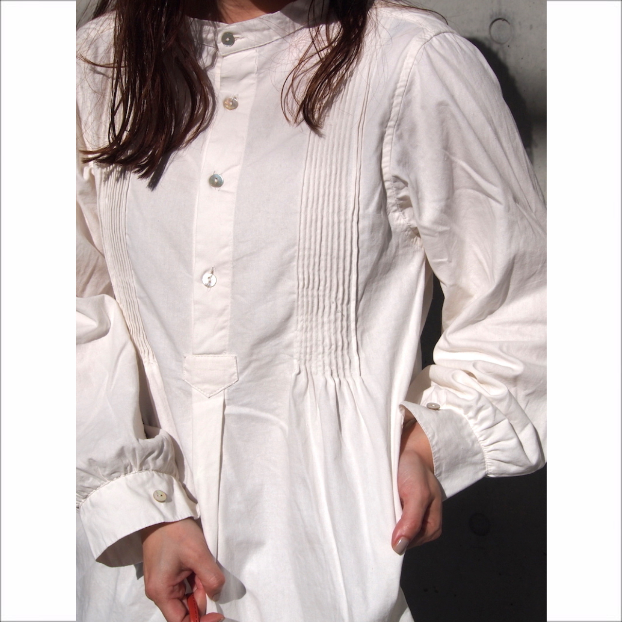 【sandglass】pin tuck grandpa shirt  / 【サンドグラス】ピンタック グランパ シャツ