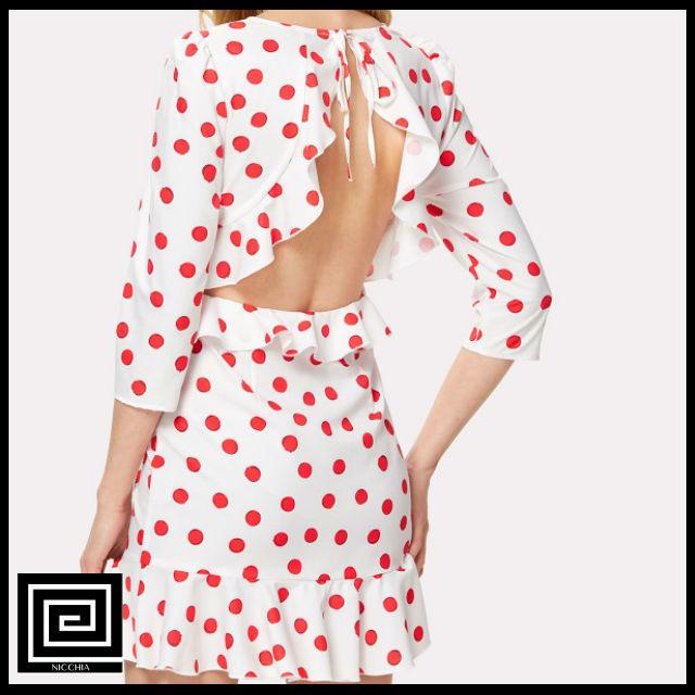 オープンバックフリルトリムポルカドットドレス