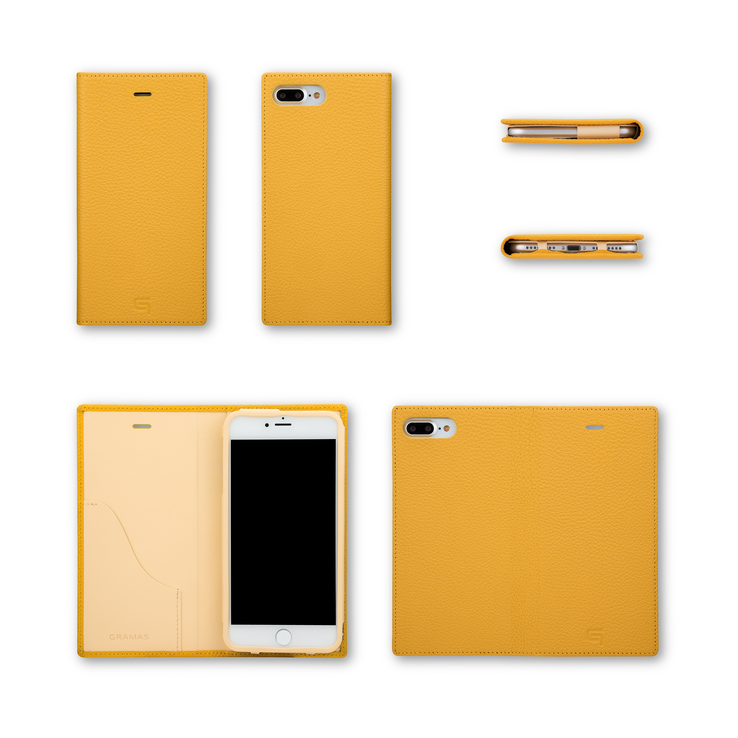 GRAMAS Shrunken-calf Full Leather Case for iPhone 7 Plus(Purple) シュランケンカーフ 手帳型フルレザーケース - 画像5