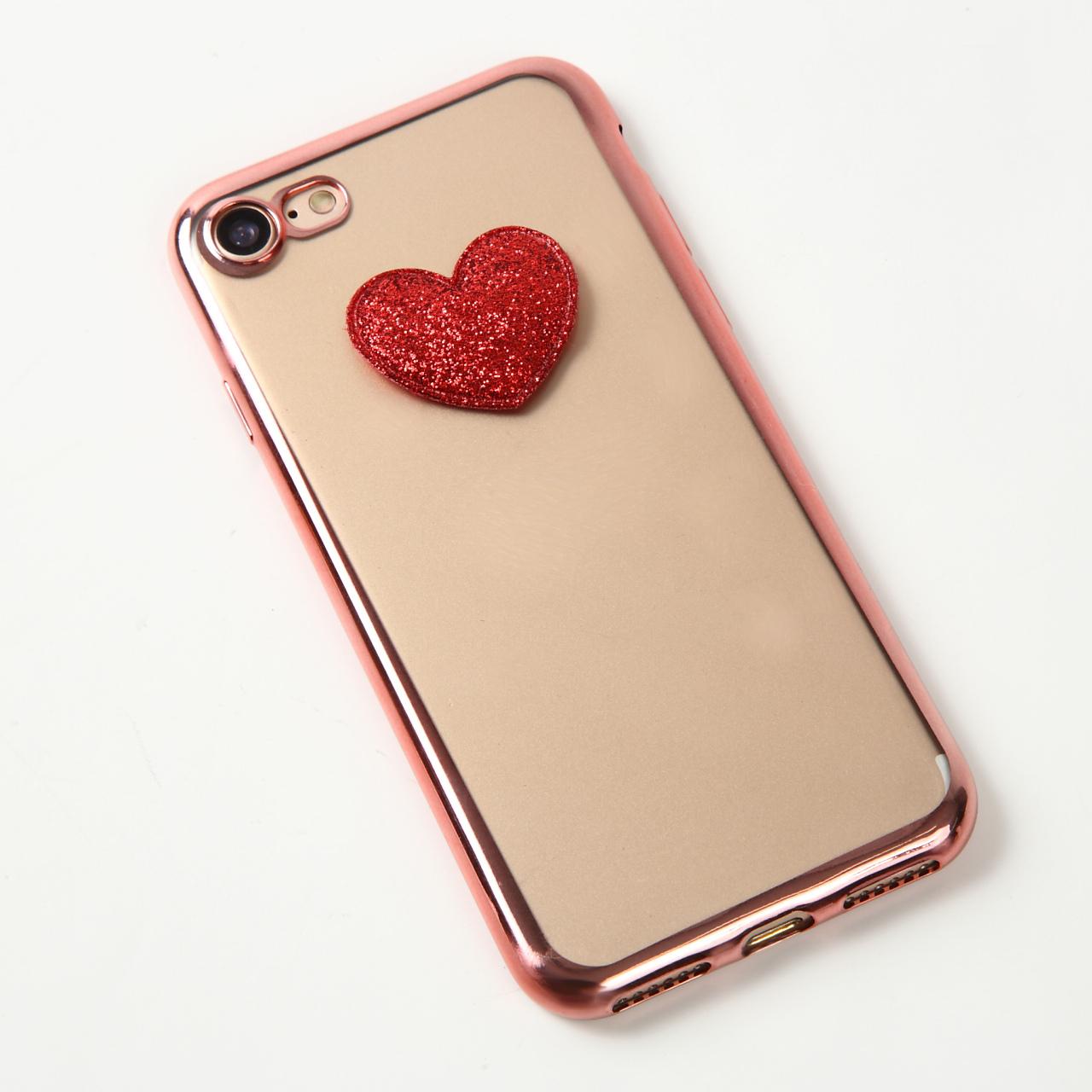 【即納★送料無料】縁ローズゴールドソフトケースにかわいいハート付iPhoneケース