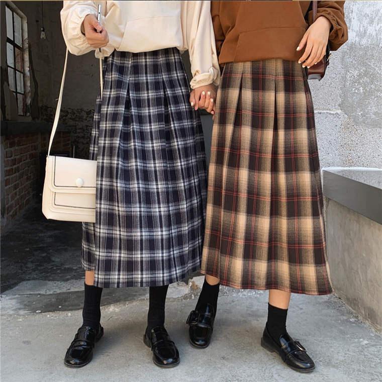 【送料無料 】レトロ & カジュアル ♡ 大人可愛い チェック柄 タック入り フレア Aライン ロング スカート