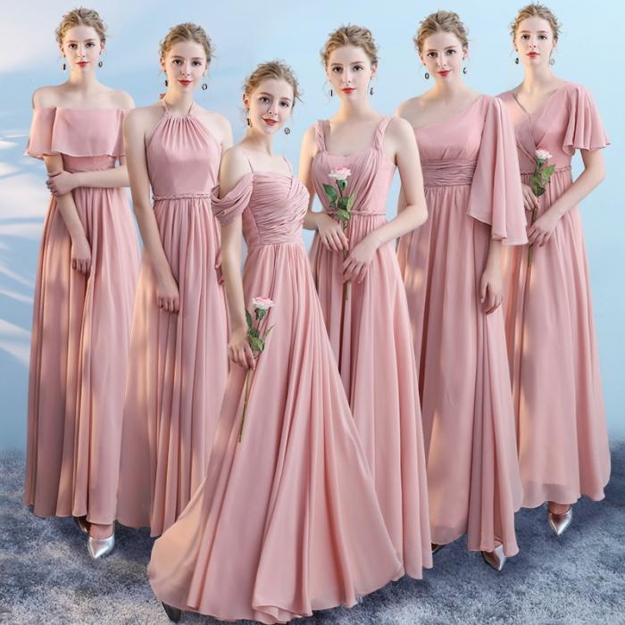 選べるネックライン6種類!ロングドレス