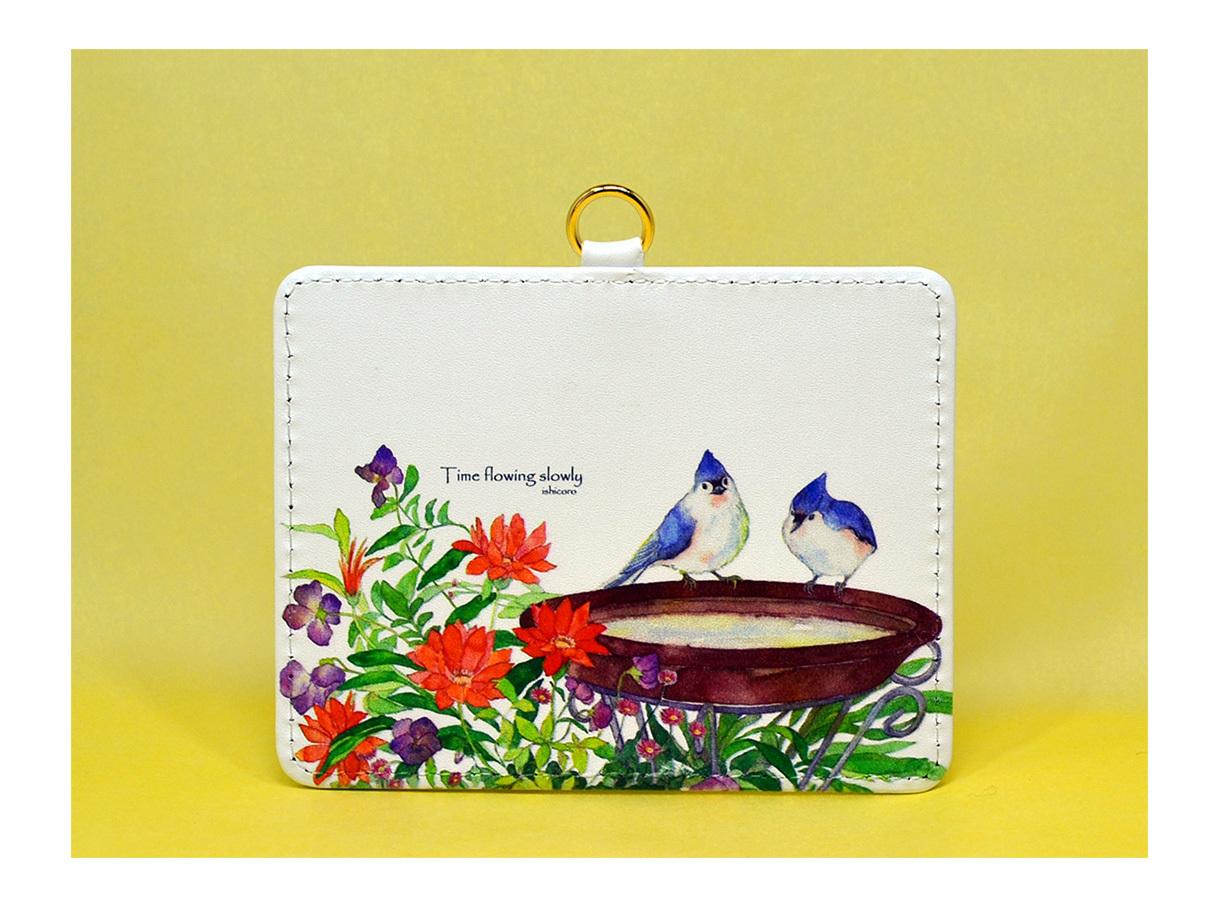 お花と小鳥のパスケース