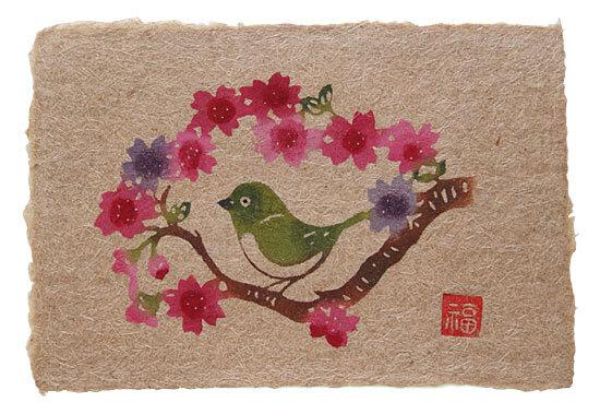 芭蕉紙型染はがき・桜にめじろ
