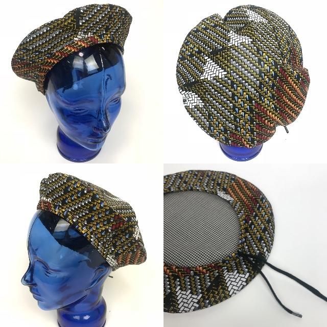 アフリカンプリントベレー帽 08