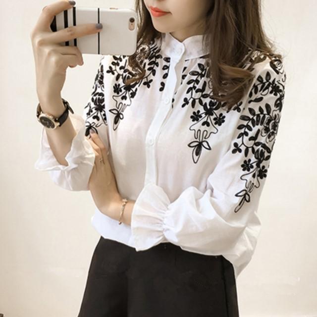 人気☆レデイース フラワー刺繍ブラウス シャツ 長袖 ダンガリーシャツモノトーン