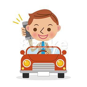 イラスト素材:運転中にスマートフォンで話すドライバー/デフォルメ(ベクター・JPG)