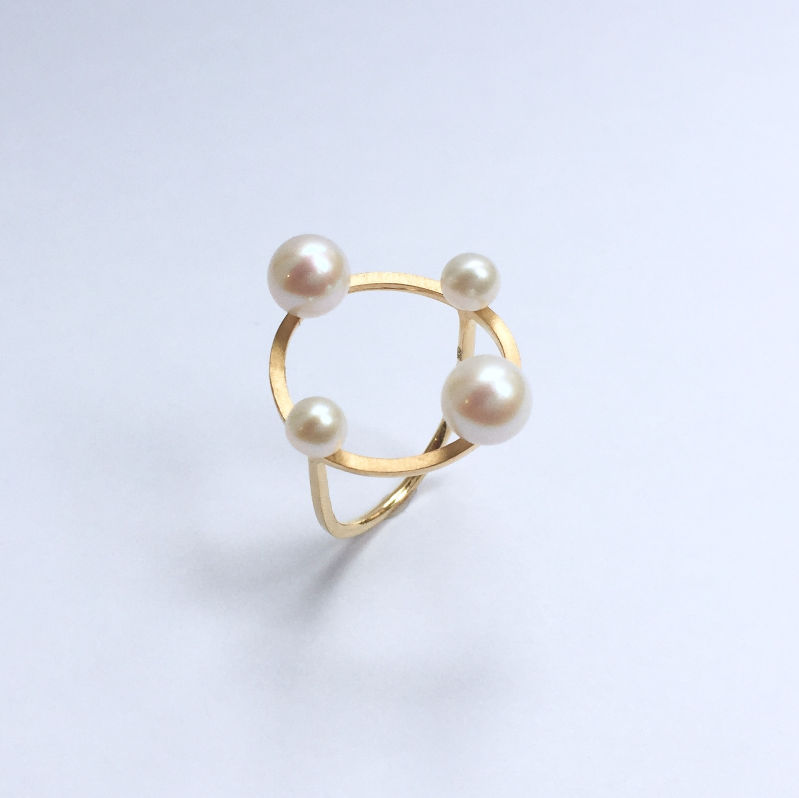 Four Pearls on Circle Ring - Gold
