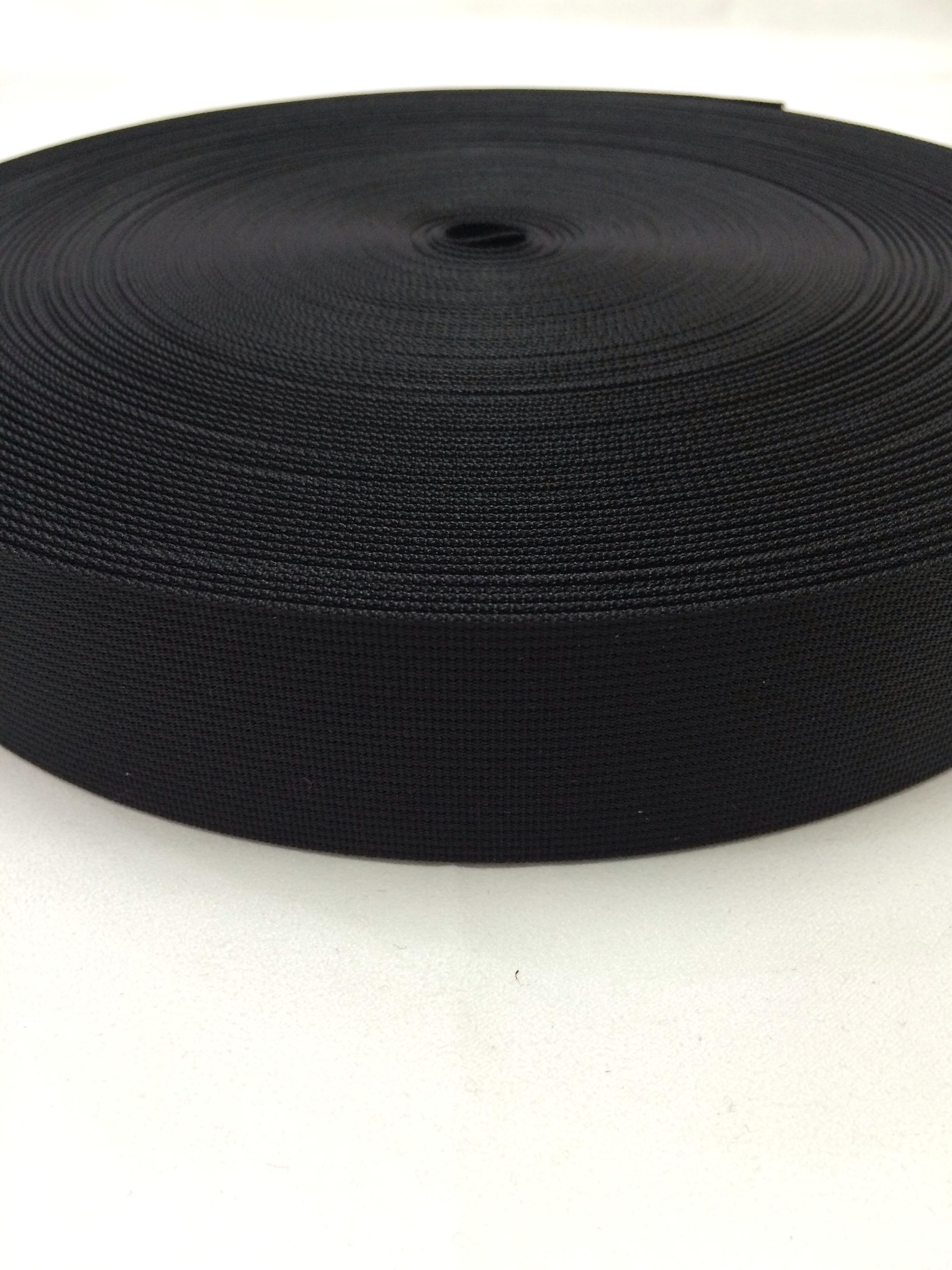 ナイロンベルト 高密度織 38mm幅 1mm厚 黒 1m