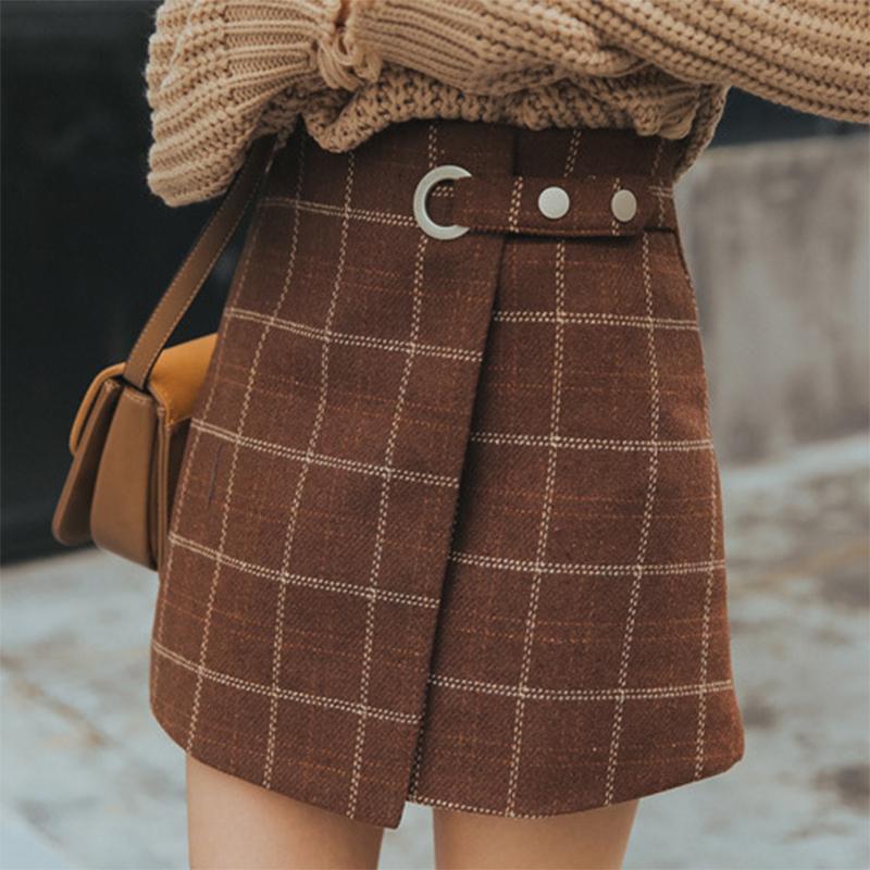 rkab 157upk3 レディース チェック 柄 スカート ミニ丈 巻きスカート風 Aライン ブラウン M