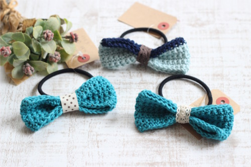 リボンヘアゴム*手編み ブルー系/sakura