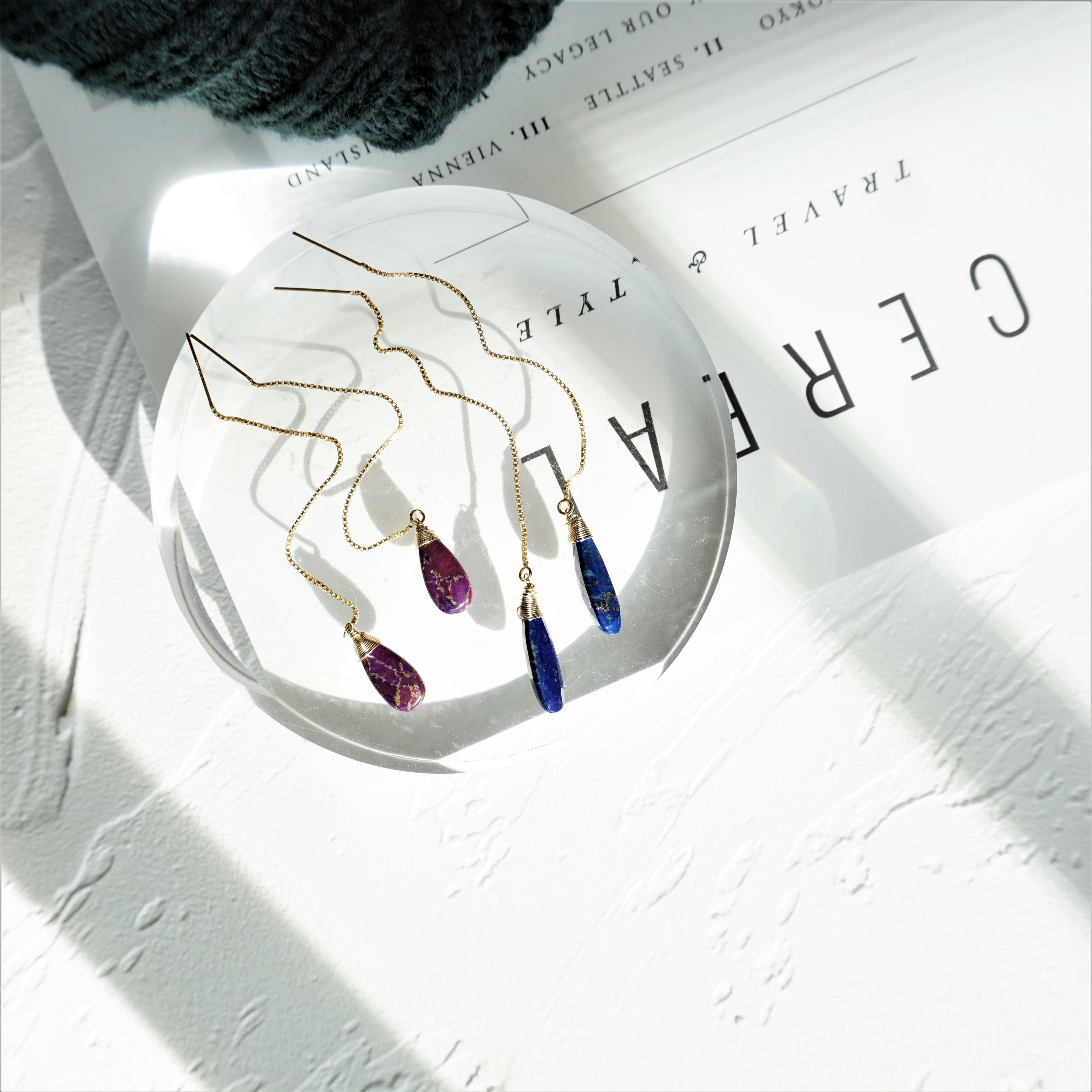14kgf*Lapislazuri American pierced earring / earring