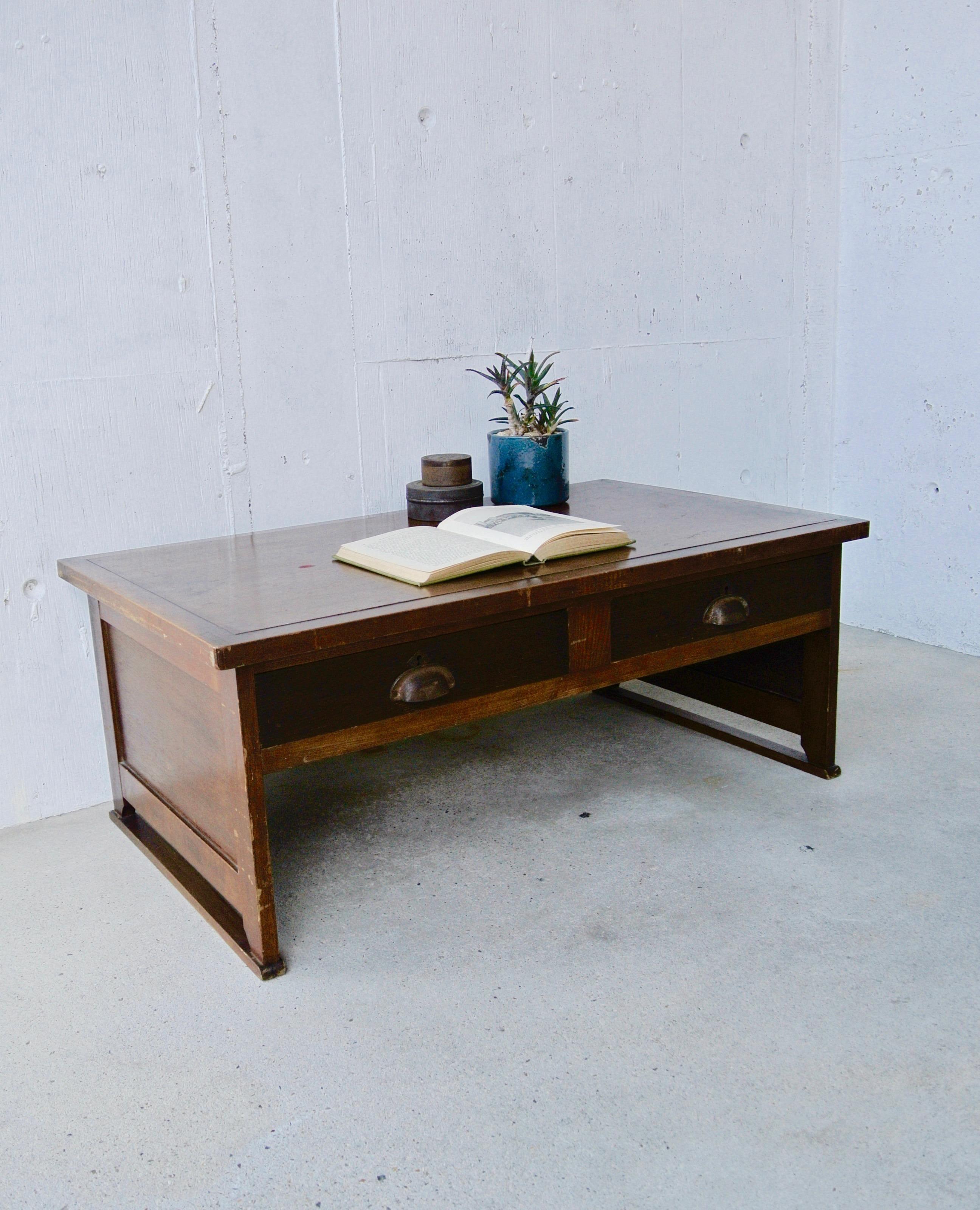 木味バイカラーのローテーブル[古家具]