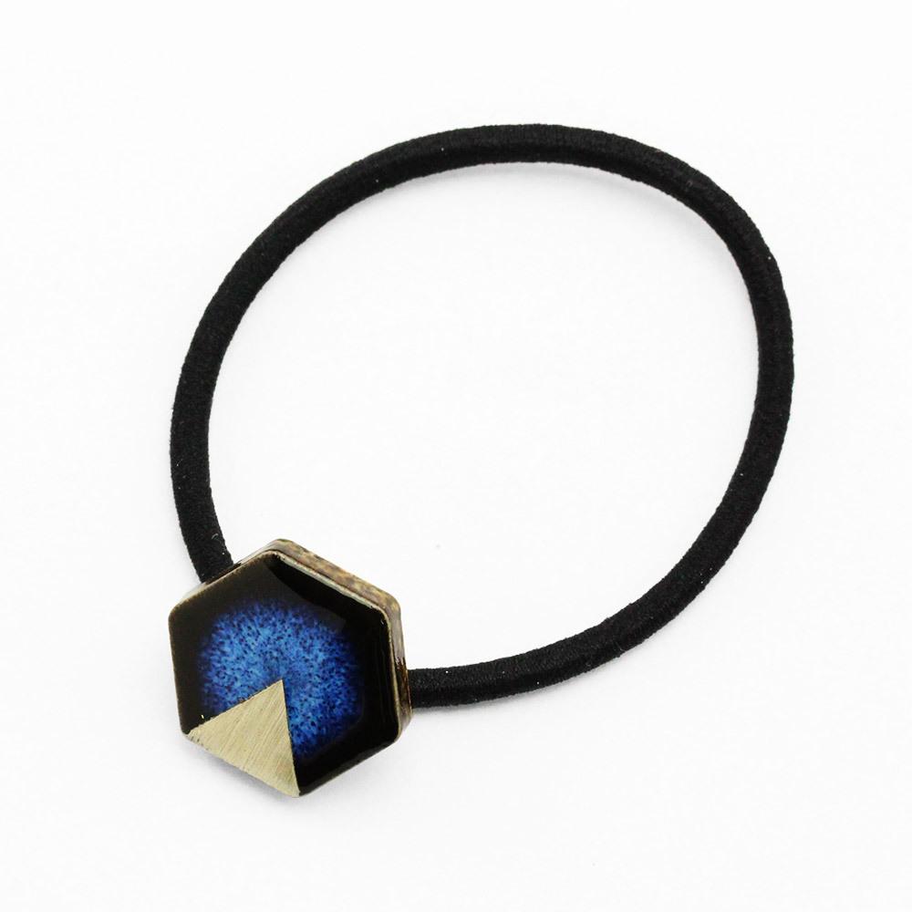 藍色 六角 陶器 月華 ヘアゴム 美濃焼