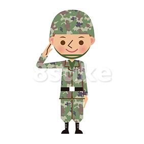 イラスト素材:敬礼する自衛官・軍人(ベクター・JPG)