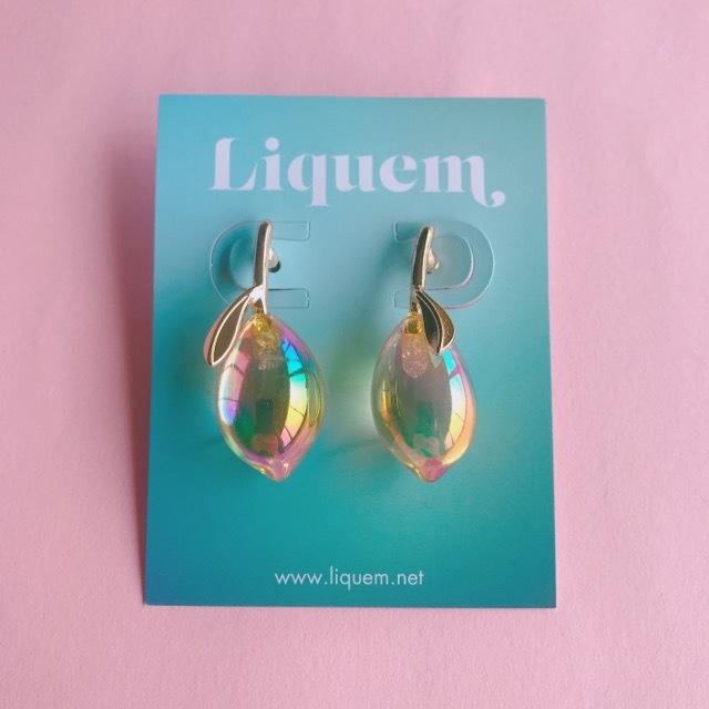 <ピアス>Liquem / レモンピアス(シャボン玉イエロー)