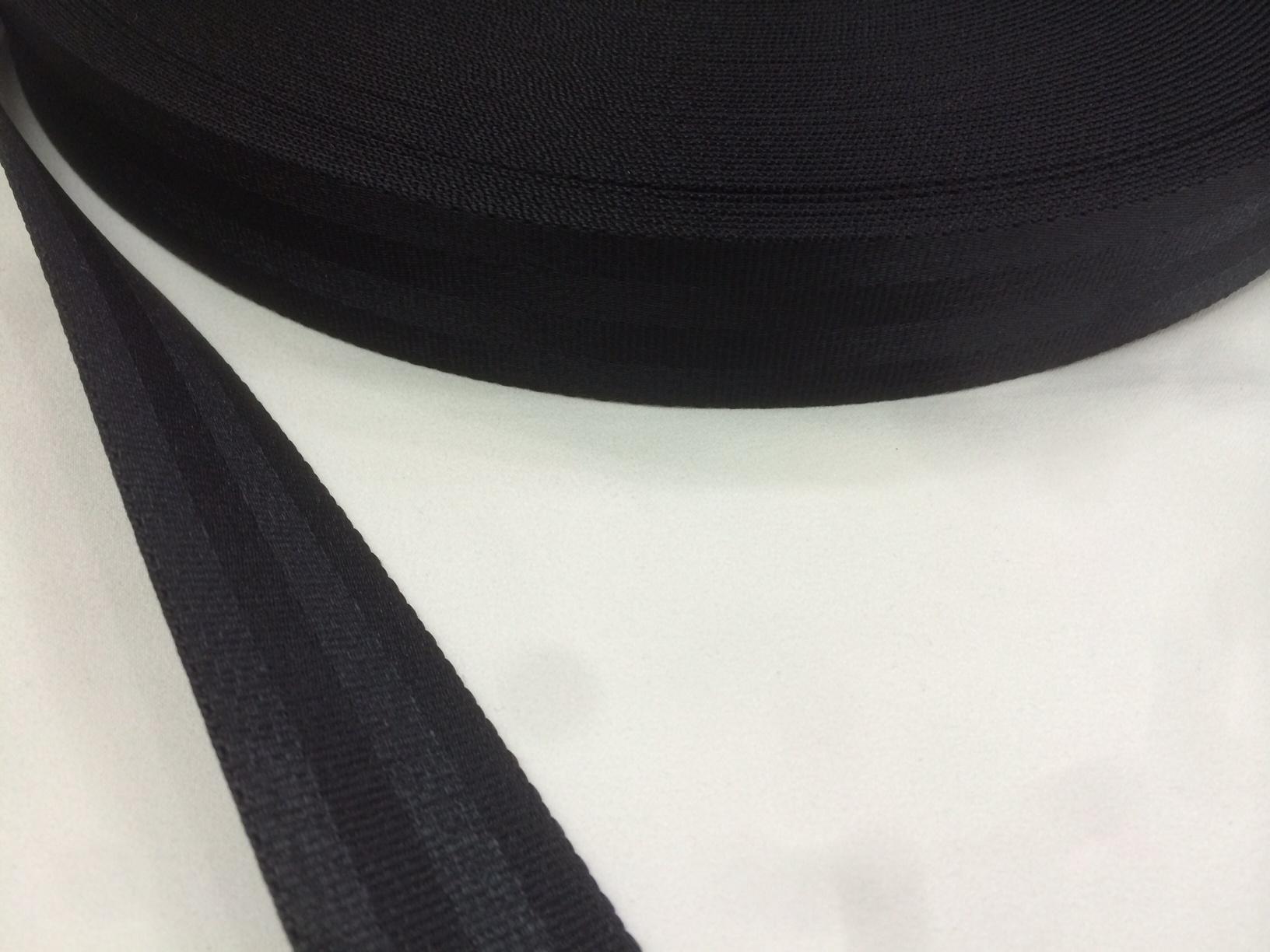 ナイロン ベルト 二ツ山織 38㎜幅 1.6㎜厚 黒 1m