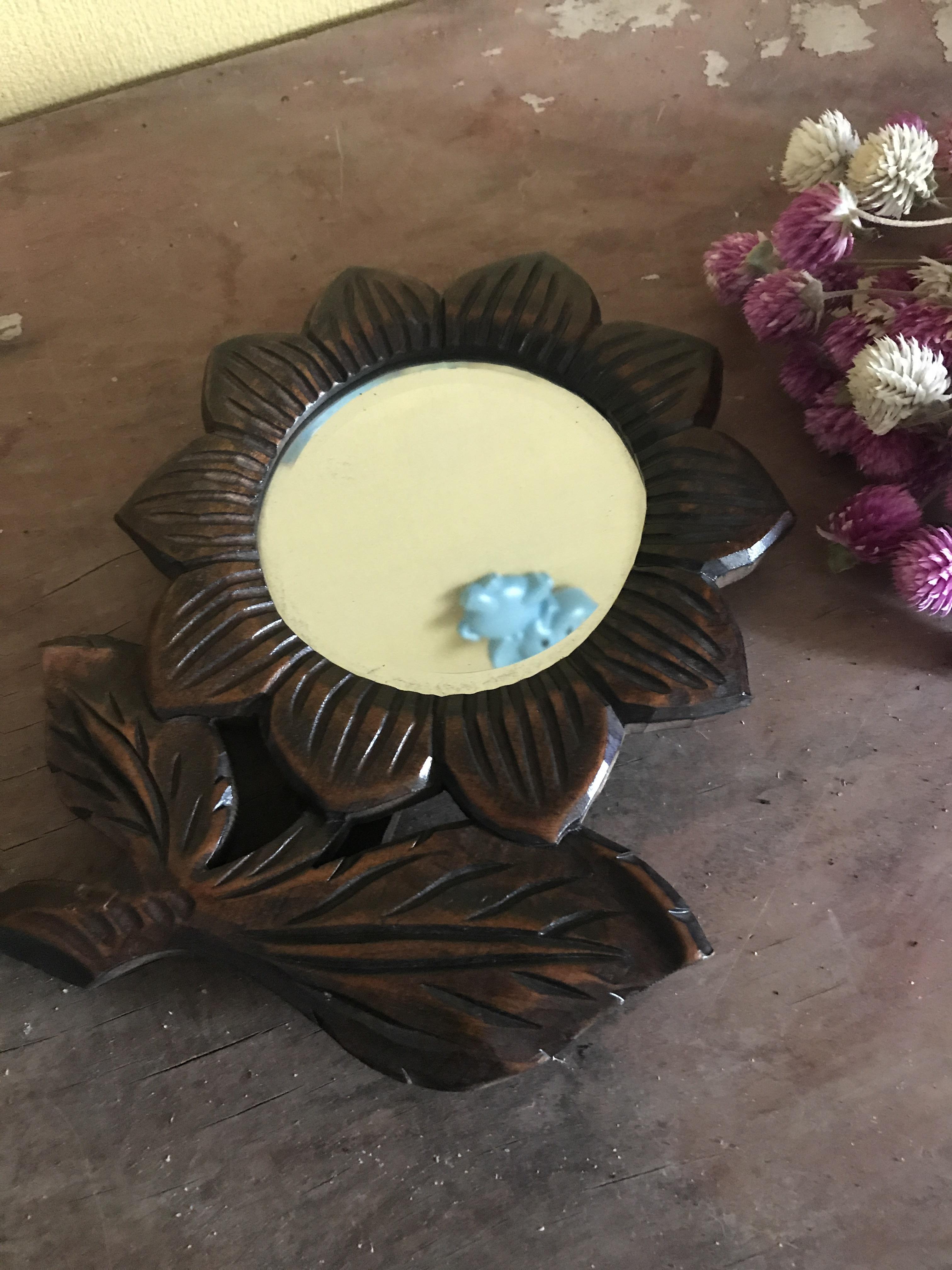 木製 レトロなお花鏡