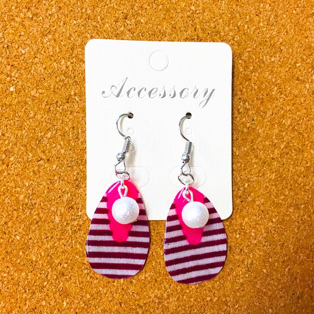 布レジンピアス-しずく縞Pink