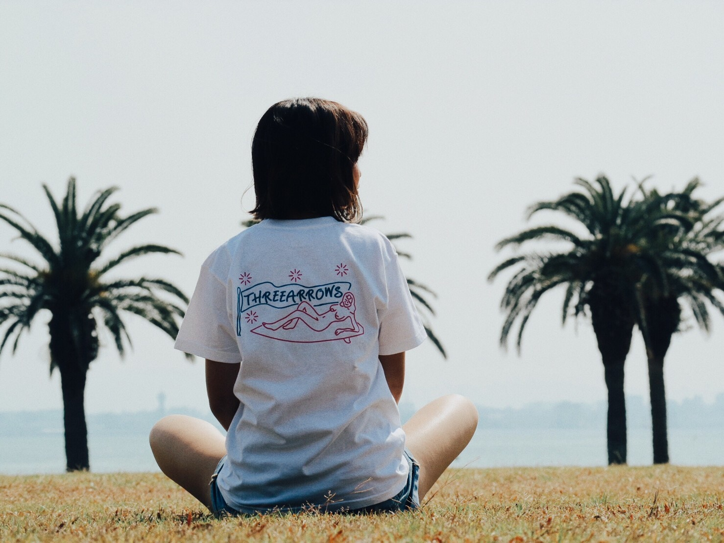 SURF GIRL Tシャツ(white × pink)