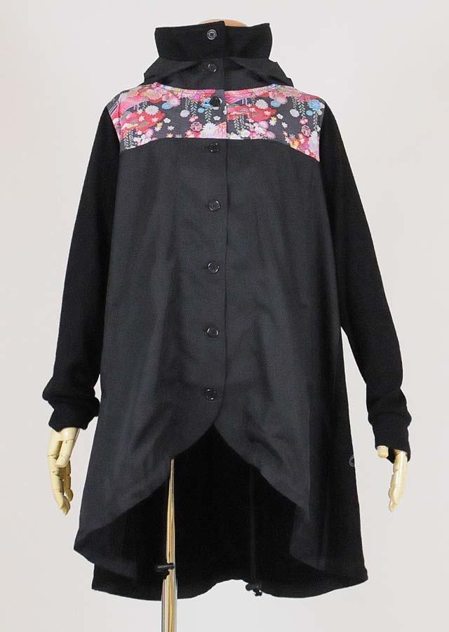 gouk ニットと布帛のバルーンコート 黒 GGD26-C336 BK/M