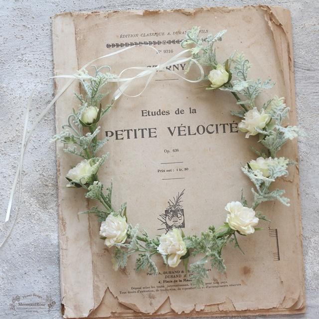 【花冠】フリルローズとグリーンのシンプル花冠*細サテン選べる5色