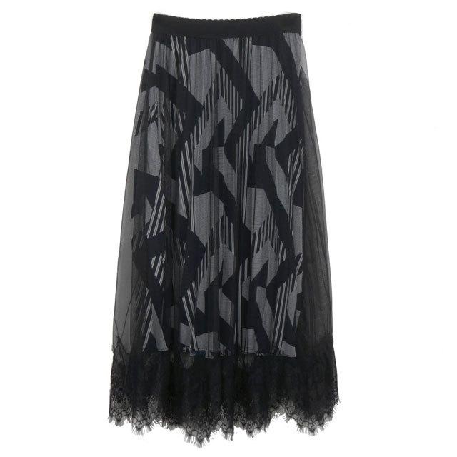COOLA ジオメトリック裾レースプリーツスカート