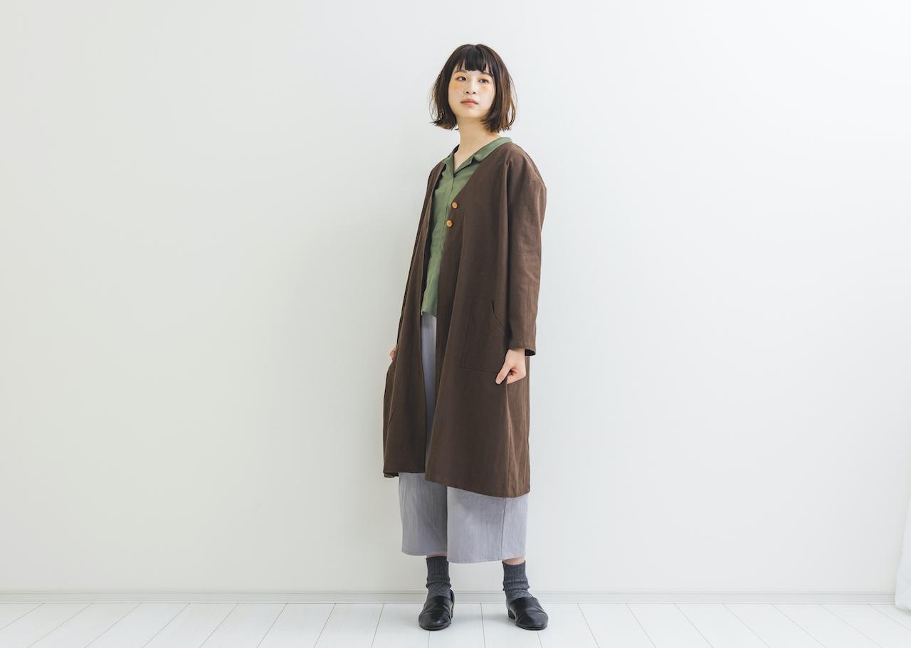【限定再販】コットンリネンノーカラーコートchoicecolor!