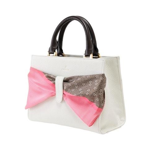 ZAWAZA オリジナルバッグ <結~Yui~> バッグ :オフホワイト スカーフ:ピンク(行儀)×チョコ(梅鉢唐草)