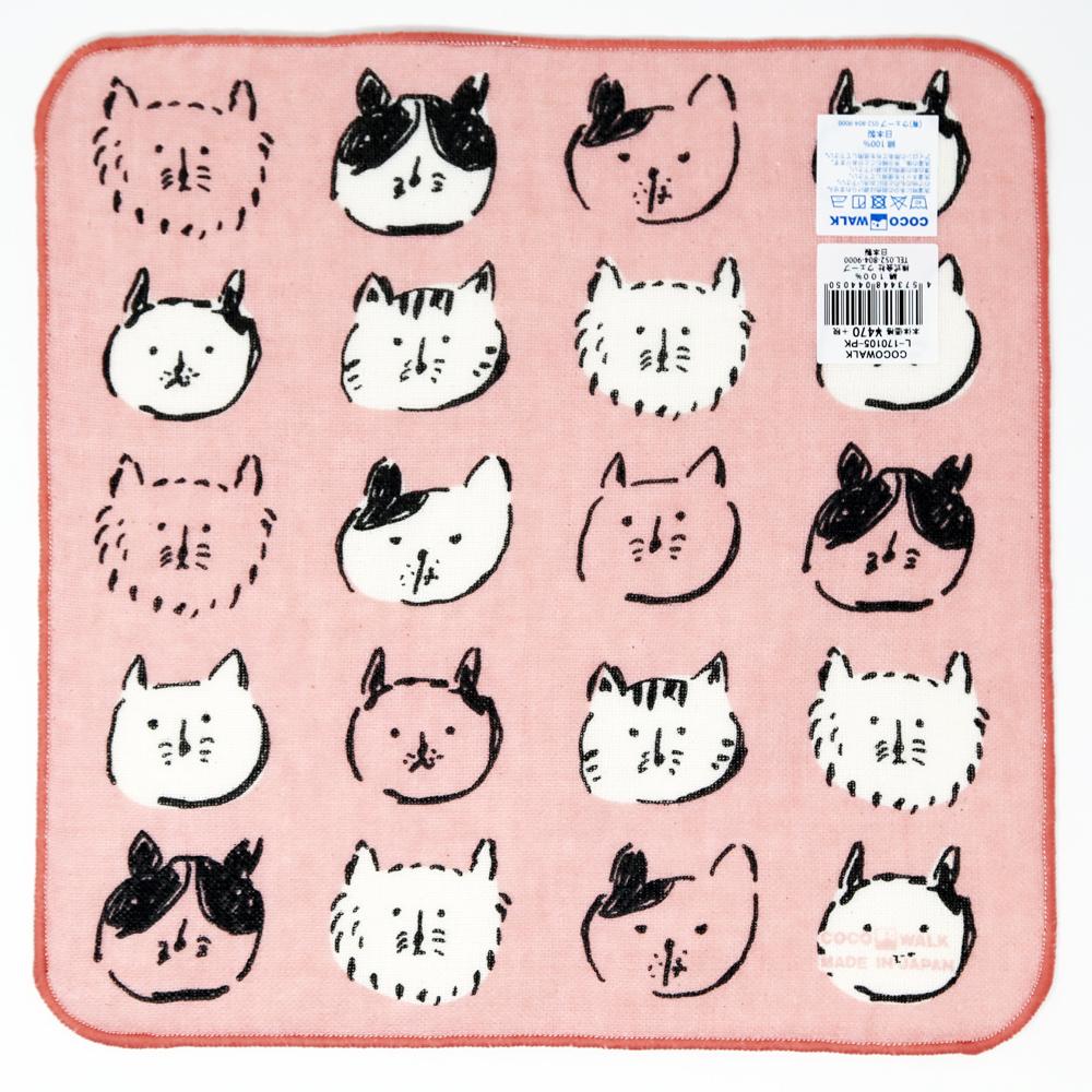 猫タオルハンカチ(ネコbook)ピンク