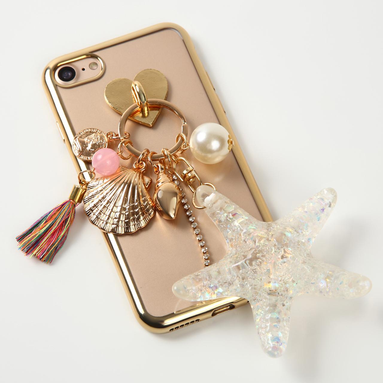 【即納★送料無料】縁ゴールドソフトケースにヒトデ 貝殻 チャーム付 iPhoneケース