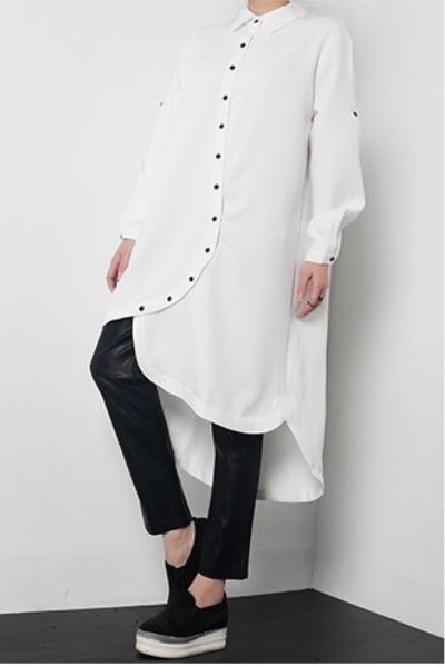 dropdrop モード系 シャツゆとり 軽い S字ラインボタン 不規則 シャツ 大人 涼しげ オリジナルデザイン えんび長袖
