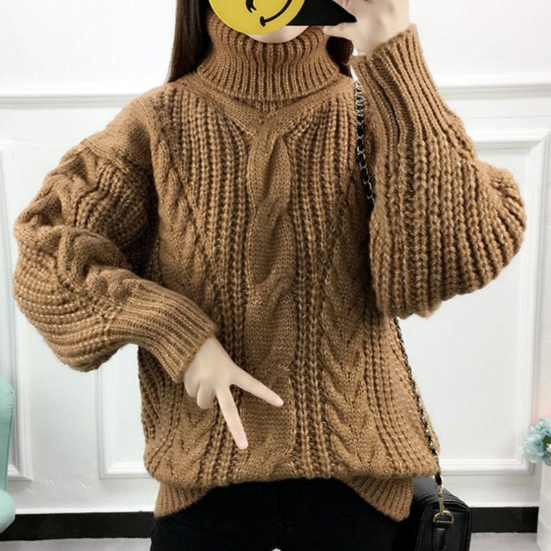 【トップス】配色保温無地長袖シンプルプルオーバーセーター14951200