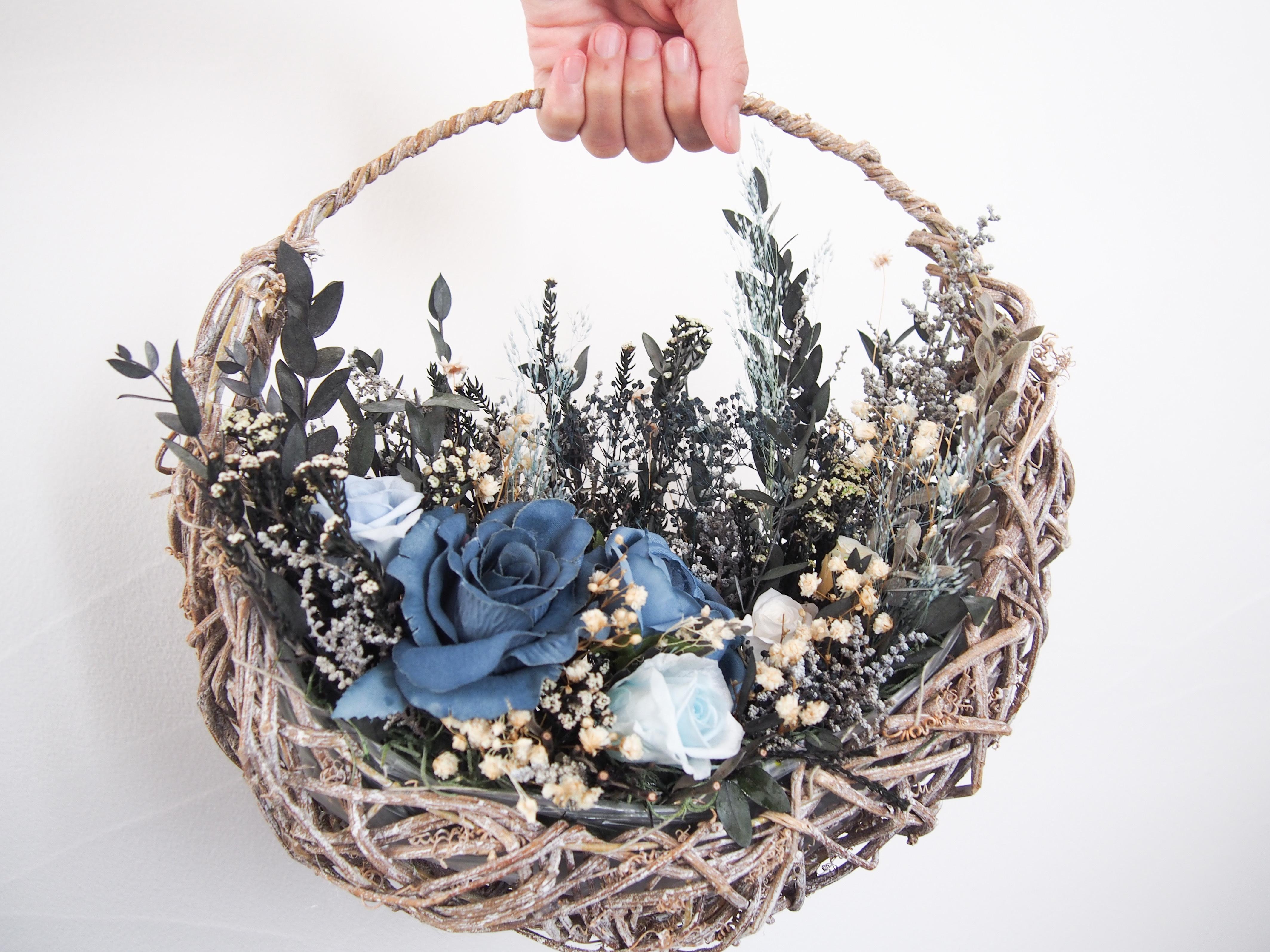 新作 ▶︎ナチュラル ガーデン シャビー ブルー 花摘み バスケット リース ブーケ