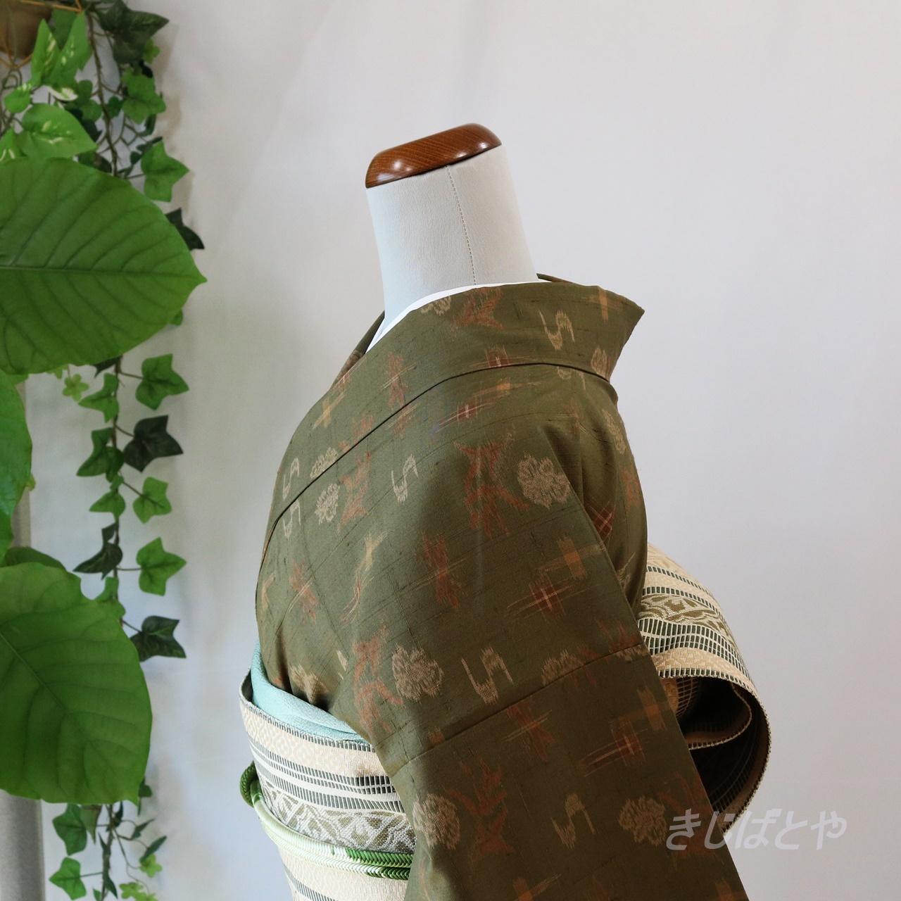 正絹紬 海松色の総柄小紋 袷
