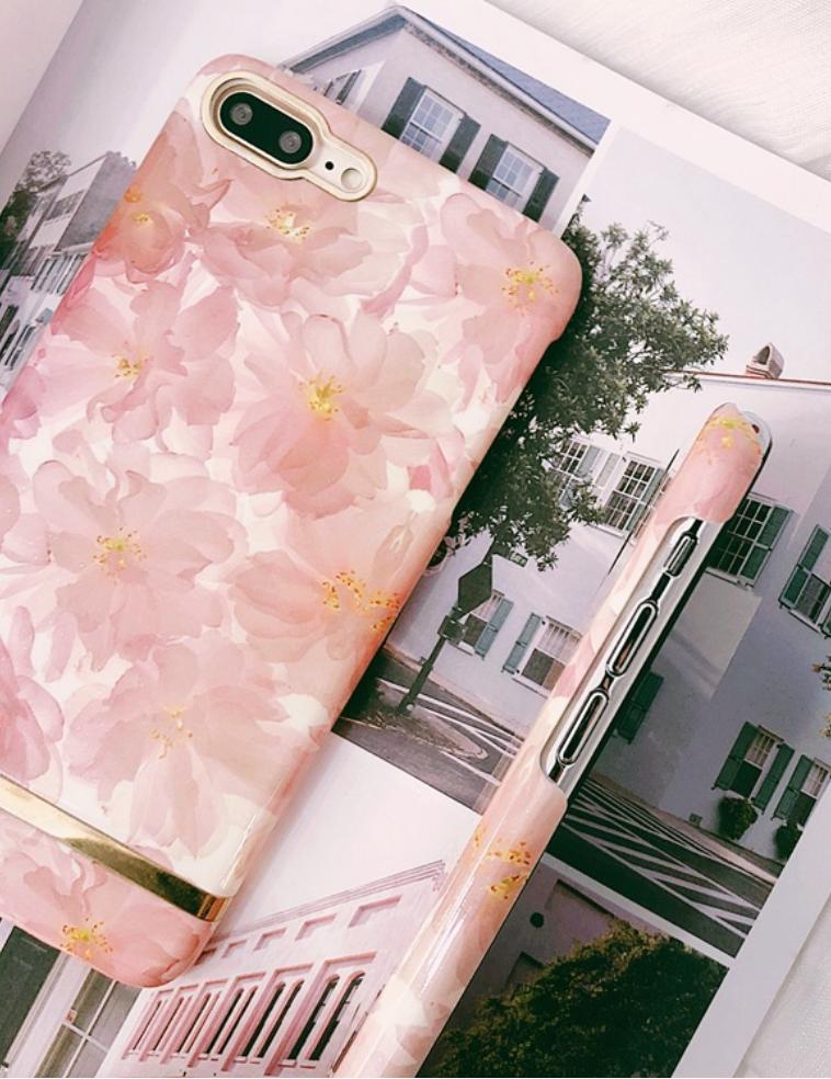 花柄×ゴールドラインiphoneケース
