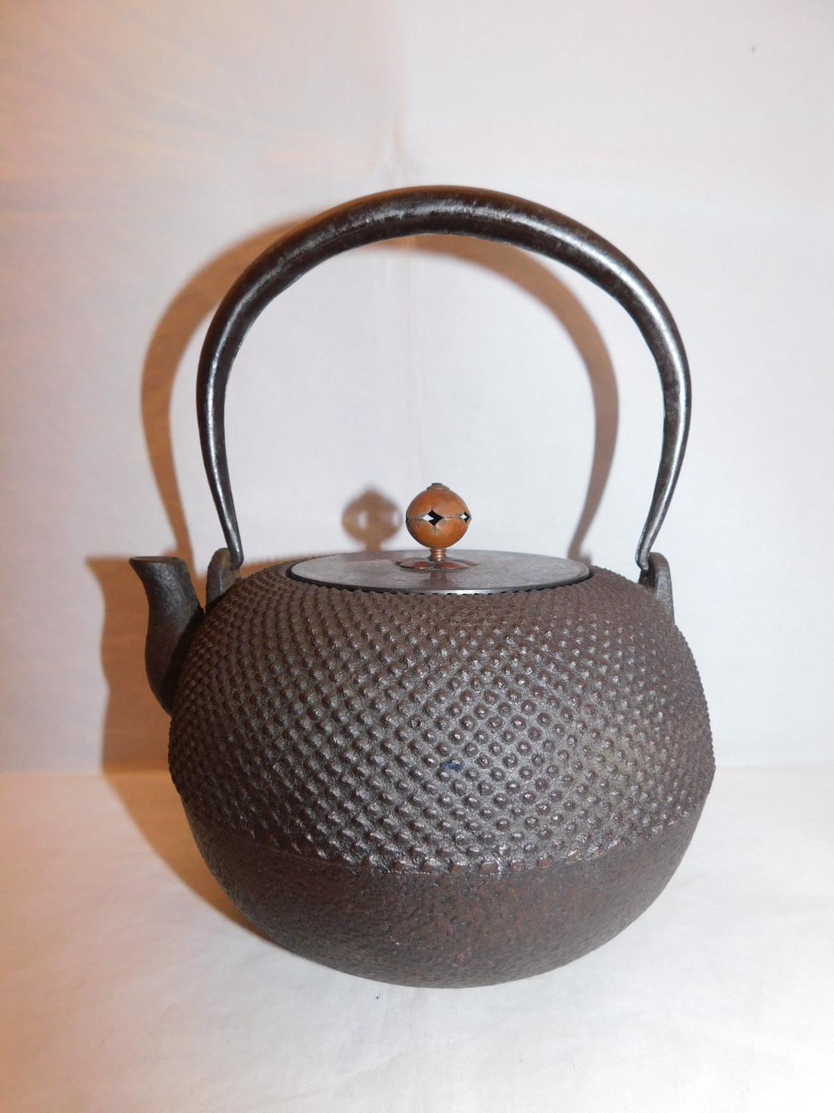 鉄瓶(こげ茶、あられ) iron kettle(brown color hail)(No23)