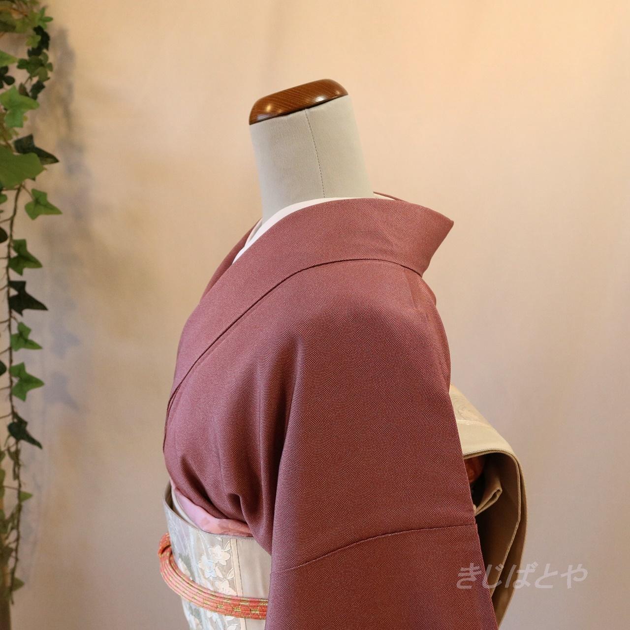 正絹 滅紅(めっこう)の江戸小紋の付け下げ 袷