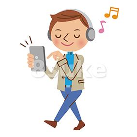 イラスト素材:スマートフォンで音楽を聴く私服の男性(ベクター・JPG)