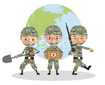 イラスト素材:世界で活躍する自衛官のイメージ/3人(ベクター・JPG)