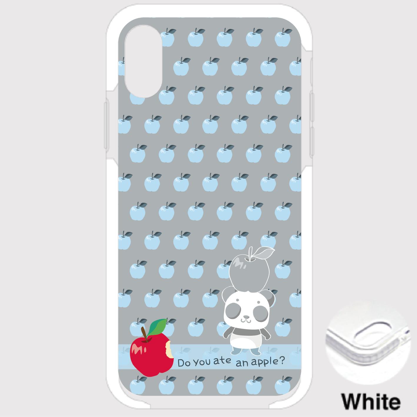 B*iPhone XSMax/8Plus/7Plus*9-19Bxリンゴを食べたのは誰?*水色*クッションバンパーケース