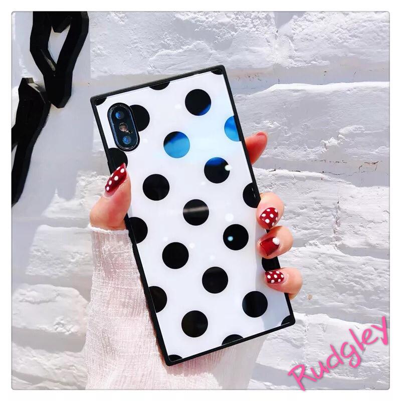 大人気ドット柄 ガラスiPhone ケース iphone7/8plus iphone6s/6plus iPhoneXケース 可愛い