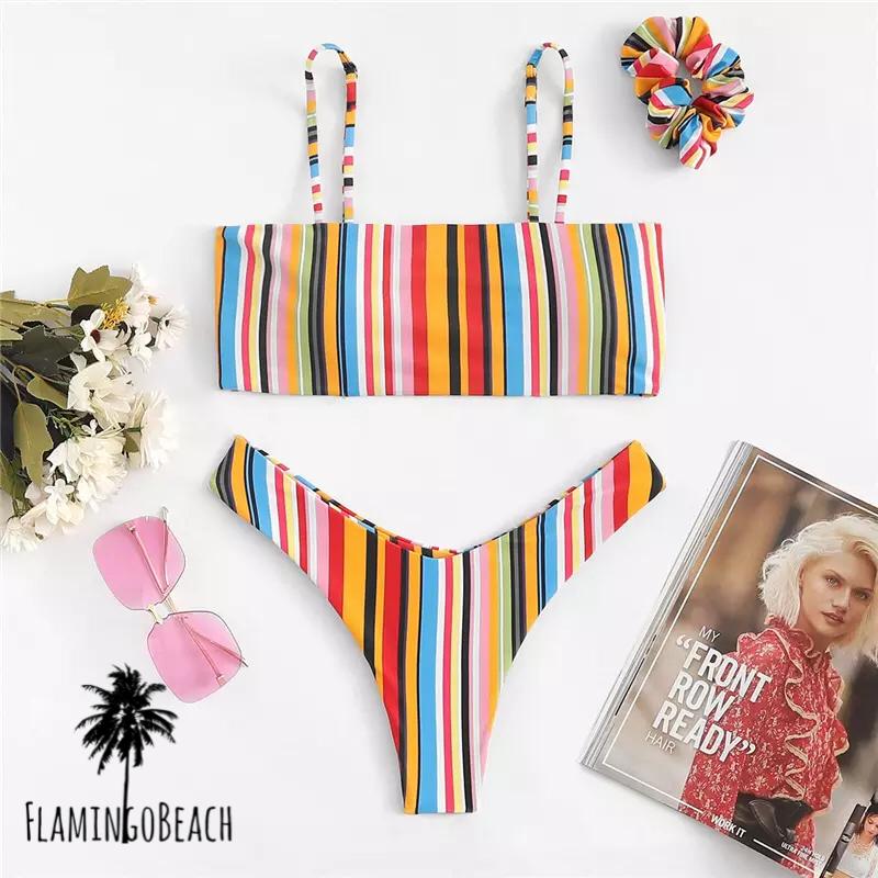 【FlamingoBeach】rainbow Brazilian bikini ブラジリアンビキニ