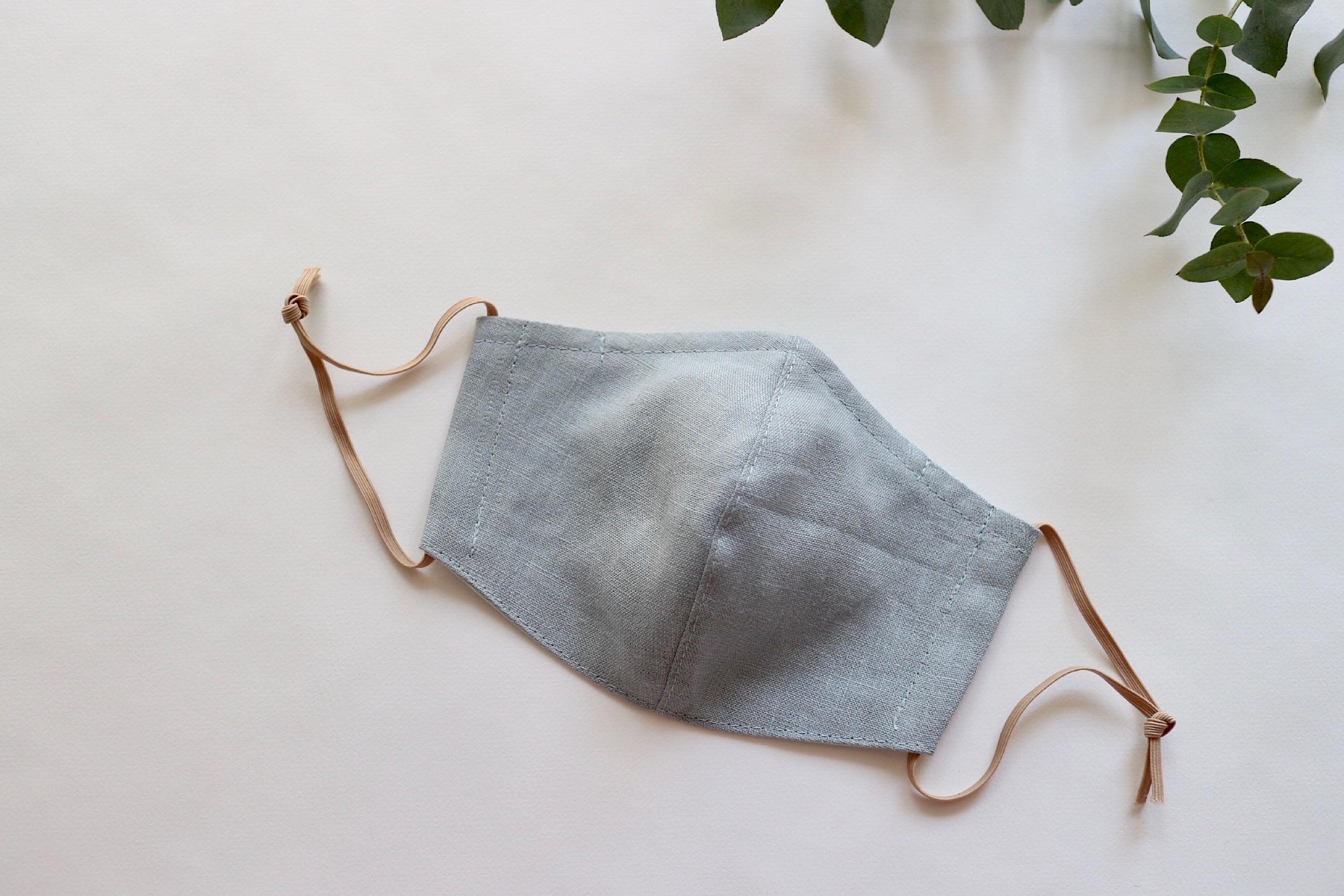 【夏マスクに!】リネンのカラーマスク(リバーシブル) くすみサックス × ミントブルー 1枚【Mサイズ 女性用】