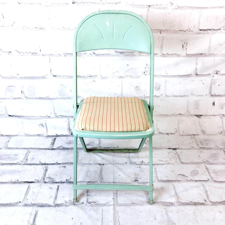 品番4592 フォールディングチェア 折りたたみ椅子 グリーン スチール製 インテリア アンティーク