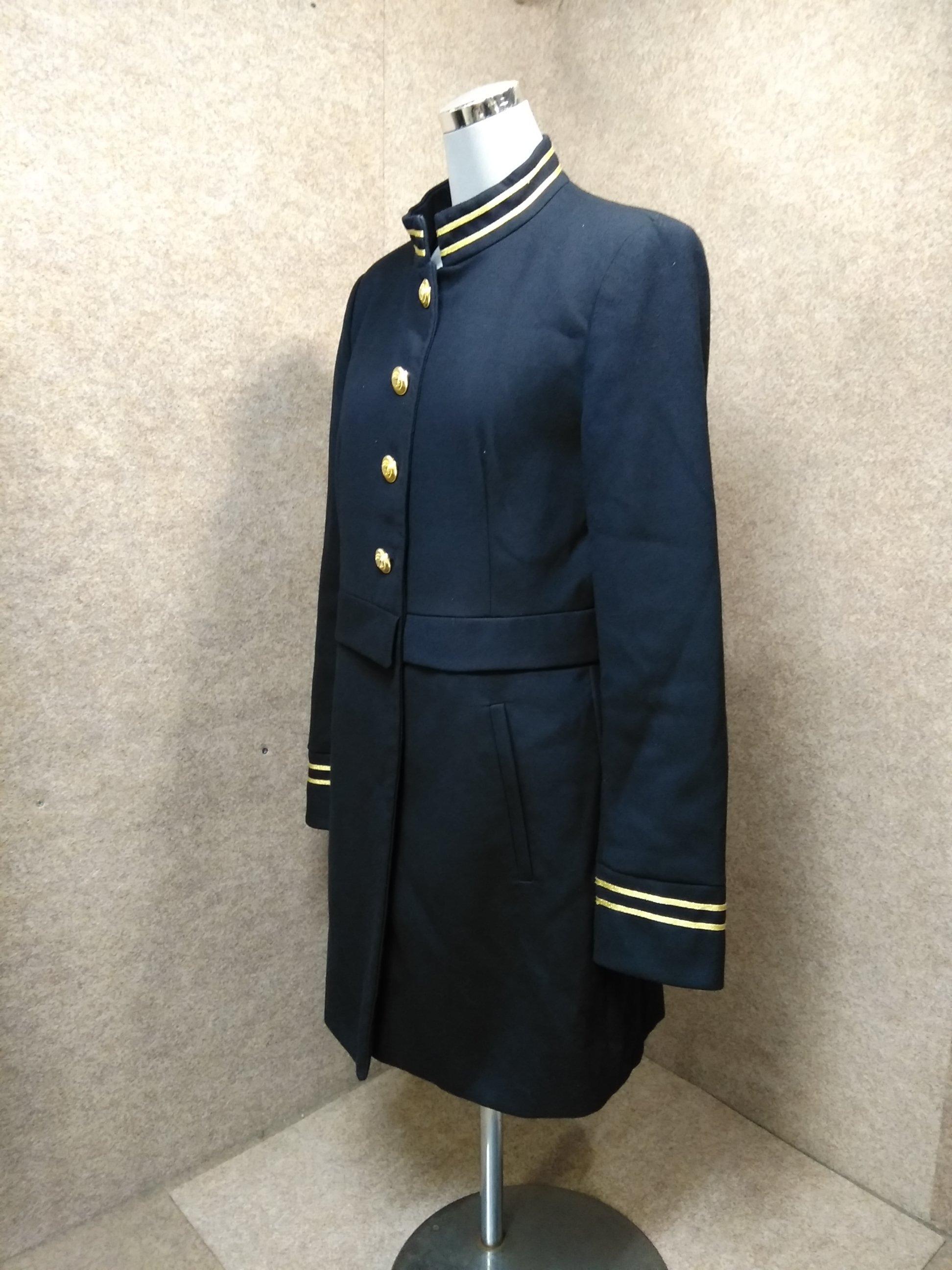 ザラ ZARA コート ジャケット 黒系 金ボタン 制服風 M mh213s