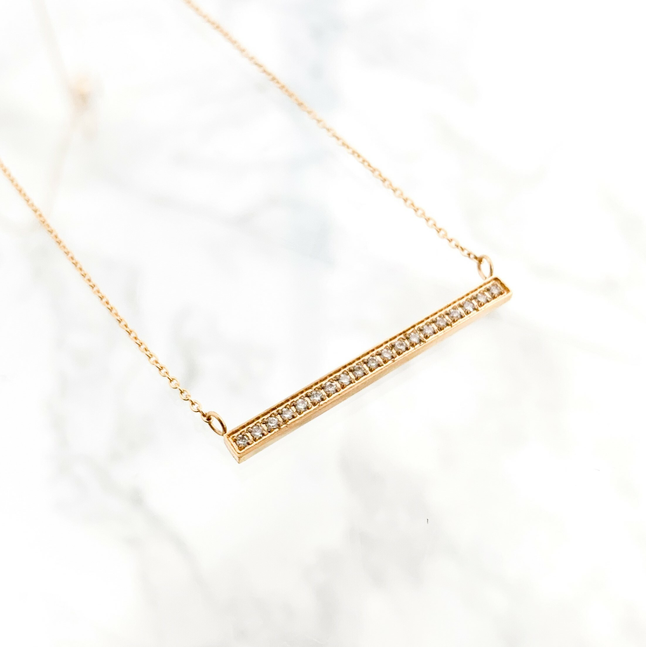 Stainless CZ Bar Necklace